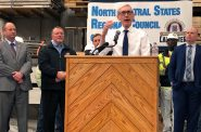Gov. Tony Evers announces the creation of a task force to address payroll fraud at an event Monday, April 15, 2019 at the Carpenters Union Madison Training Center in Madison. Photo by Laurel White/WPR.