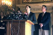 Attorney General Josh Kaul is joined by lawmakers announcing legislation aimed at preventing a backlog of sexual assault kits in Wisconsin. Photo by Laurel White/WPR.