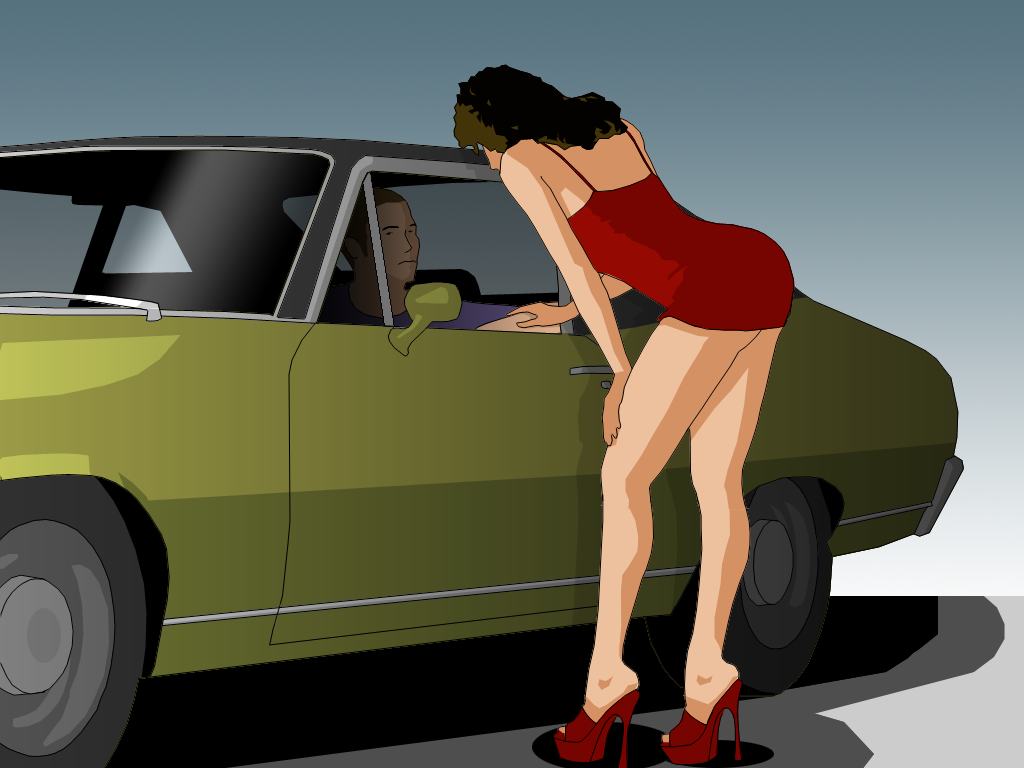 A street prostitute speaks with a customer in a parked vehicle. Image is in the public domain.