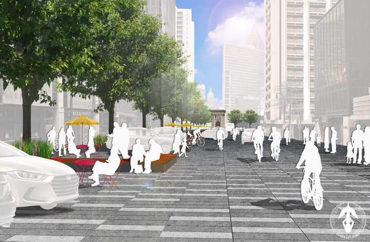 A rendering of a redesigned Peachtree Street in Atlanta, GA. Rendering by Atlanta City Studio.