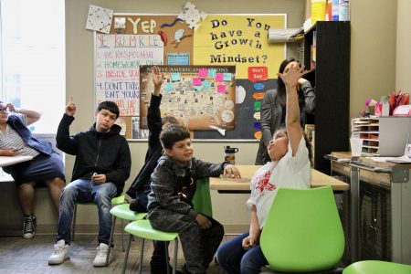 """About a dozen students from schools in the Milwaukee area come to the program twice weekly. """"Kids are reconnecting and reidentifying with their tribal identity,"""" says Brian Frejo, who is Pawnee and Seminole. Photo by Bridget Fogarty/NNS."""