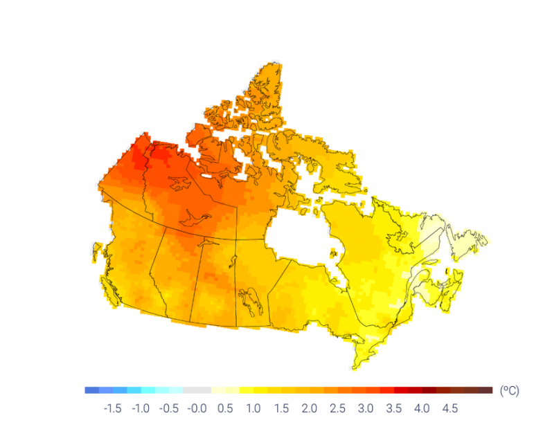 Observed changes (°C) in annual temperature across Canada between 1948 and 2016, based on linear trends. Image from Canada's Changing Climate Report.