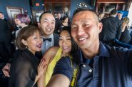 Cris Ros-Dukler (from left), Erik Kennedy, Shary Tran and Kenny Yoo celebrate at the 2019 Hispanic Professionals of Greater Milwaukee Five Star Gala on May 9, 2019, at the Pfister Hotel. Photo by Kenny Yoo.