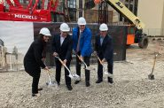 Danielle Berger, Josh Jeffers, Mayor Barrett and Jack Enea celebrate construction starting on the Huron Building. Photo by Jeramey Jannene.