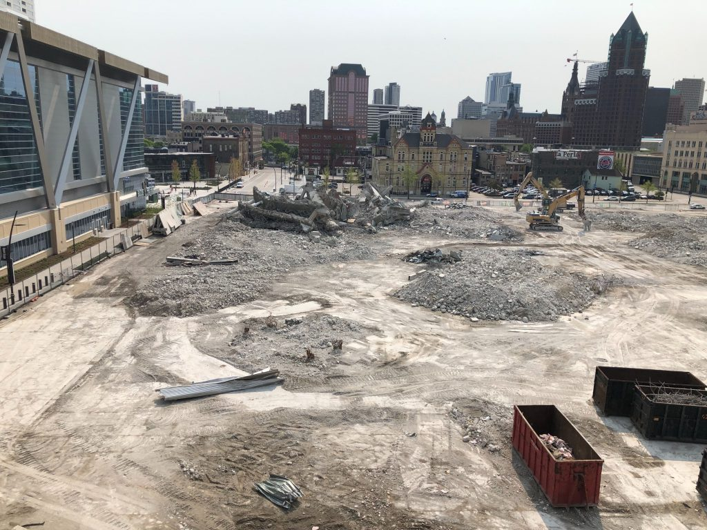 The last of the Bradley Center has come down. Photo by Jeramey Jannene.