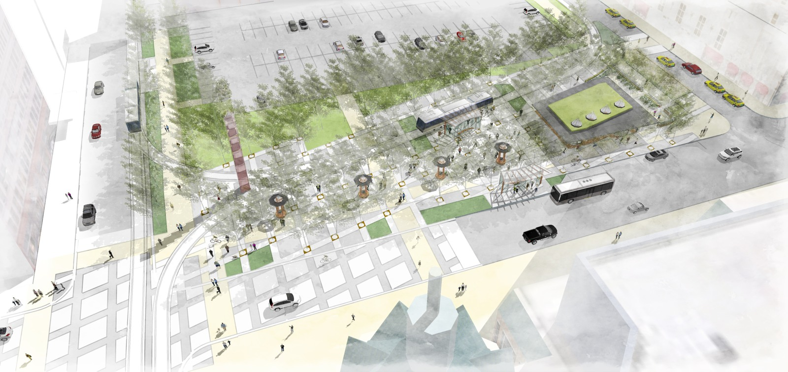 Vel R. Phillips Plaza rendering. Rendering by TKWA UrbanLab.