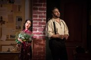 (l. to r.) Rána Roman (Lilli Vanessi/Katharine) and Andrew Varela (Fred Graham/Petruchio) in rehearsal for Skylight Music Theatre's production of Kiss Me, Kate May 17 – June 16. Photo by Ross Zentner.