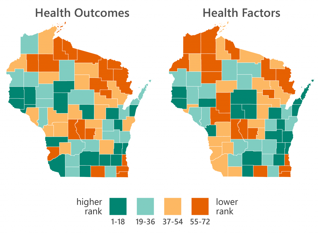 The 2019 health rankings and outcomes for all 72 Wisconsin counties are compared in side-by-side maps, with data sourced from the County Health Rankings & Roadmaps project.