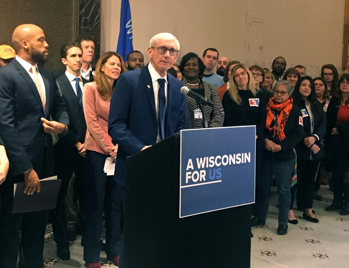Gov. Tony Evers speaks at a press conference Thursday, May 2 2019. Photo by Corrinne Hess/WPR.