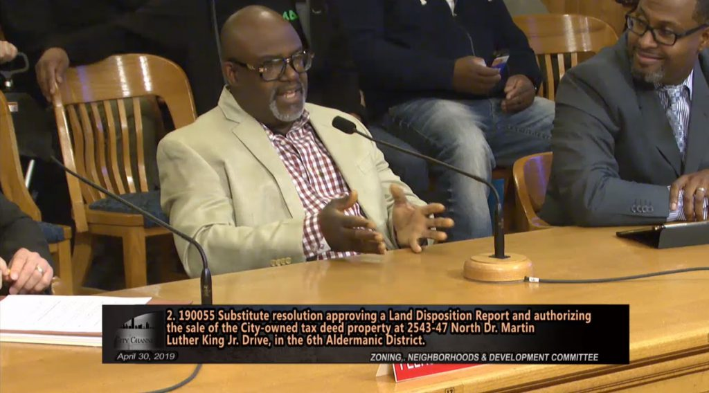 Dwight Jackson presents his plans to the Common Council's Zoning, Neighborhoods & Development Committee. Image from City Channel.