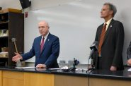 UW System President Ray Cross, left, speaking in a lab at UW-La Crosse's Cowley Hall with Chancellor Joe Gow on Tuesday, May 21 2019. Photo by Hope Kirwan/WPR.