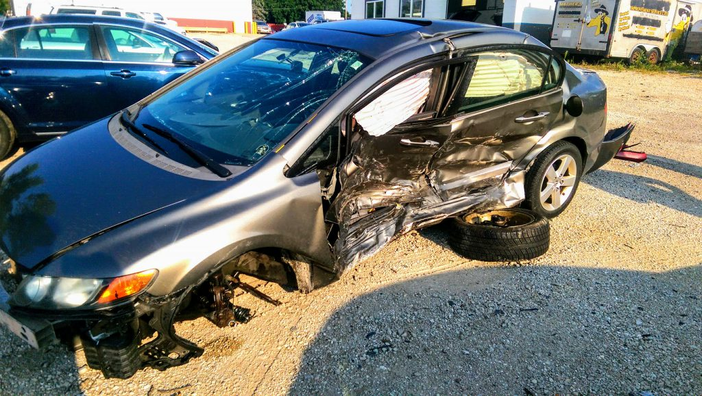 Jennifer Kilburn's Honda after it was hit by a drunken driver on the morning of Aug. 9, 2018. Photo courtesy of Jennifer Kilburn.