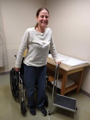 The first time Jennifer Kilburn was able to stand, three months after her car was hit by a drunken driver on the morning of Aug. 9, 2018. Photo courtesy of Jennifer Kilburn.