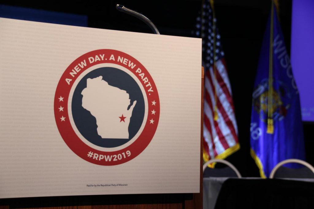 Wisconsin Republicans gathered in Oshkosh on Saturday, May 18, 2019 for their annual state convention. Photo by Shawn Johnson / WPR.