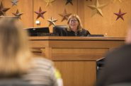 Waukesha County Judge Laura Lau smiles at a Waukesha County OWI Court participant during a hearing Thursday, April 11, 2019. The treatment court is meant as a way to keep drugged and drunken drivers accountable for their actions while also providing the rehabilitation necessary to make them safer, contributing members of society. Photo by Darin Dubinsky/WPR.