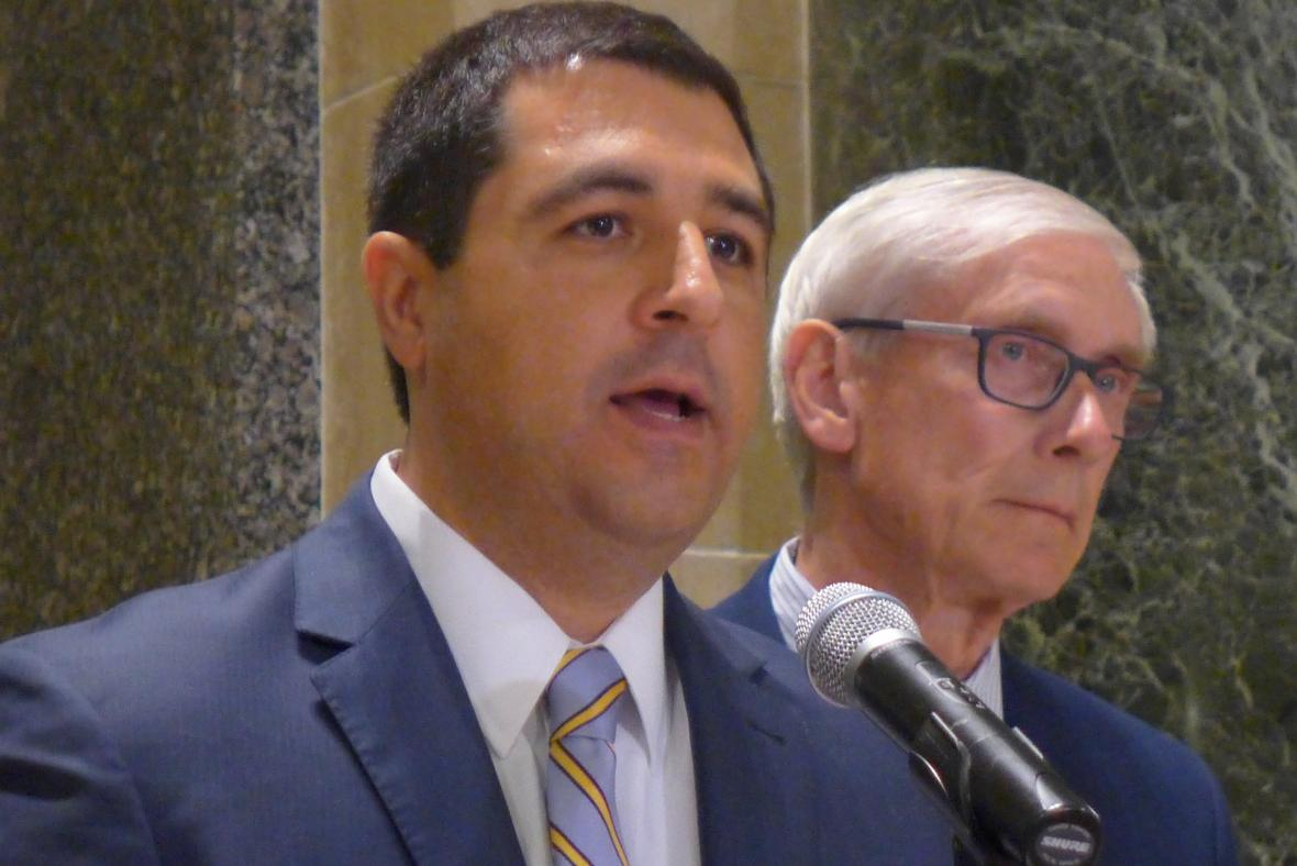 Attorney General Josh Kaul said the opioid epidemic has shattered lives and strained communities across the state. Thursday, May 16, 2019, he announced a lawsuit against the maker of the powerful and addictive opioid OxyContin. Shamane Mills/WPR.