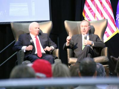 State Senate Majority Leader Scott Fitzgerald and Assembly Speaker Robin Vos speak to delegates at Republicans' annual state convention in Oshkosh Saturday, May 18, 2019. Photo by Shawn Johnson/WPR
