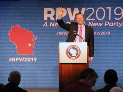 Judge Brian Hagedorn speaks to delegates at Republicans' annual state convention in Oshkosh Saturday, May 18, 2019. Photo by Shawn Johnson/WPR.