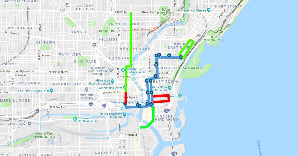 The Hop existing route and proposed extensions. Red, planned for completion in 2020. Green, engineering and study planned, construction unfunded. Image from Urban Milwaukee.