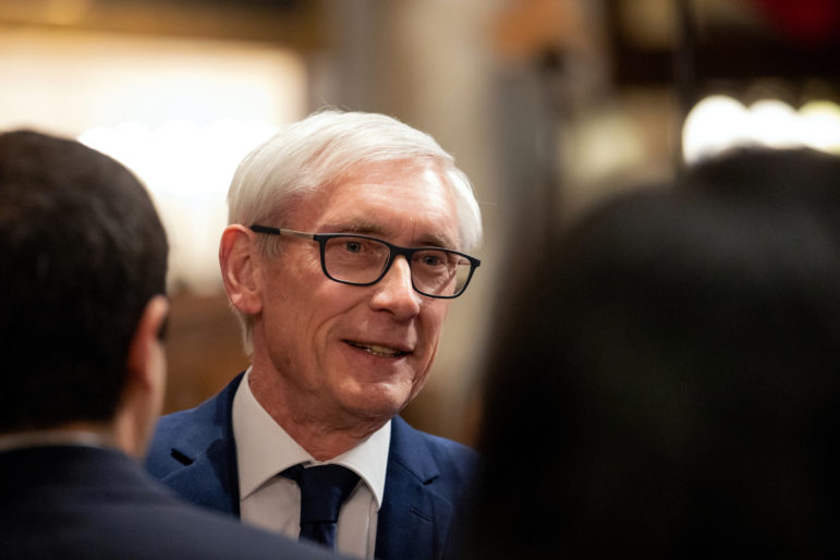 Gov. Tony Evers has proposed legalizing medical marijuana and decriminalizing minor possession but Republican legislative leaders plan to strip the proposals from his budget. Evers is seen here at his first State of the State address at the State Capitol in Madison, Wis., on Jan. 22, 2019. Photo by Emily Hamer / Wisconsin Center for Investigative Journalism.