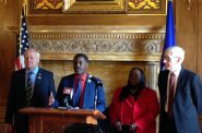 Democrats including Rep. David Crowley, D-Milwaukee, unveil a bill Monday at the state capitol that would automatically register people to vote using state transportation records. Republicans on the budget-writing committee took a similar proposal out of Gov. Tony Ever's spending plan earlier this month. Photo by Shamane Mills/WPR.