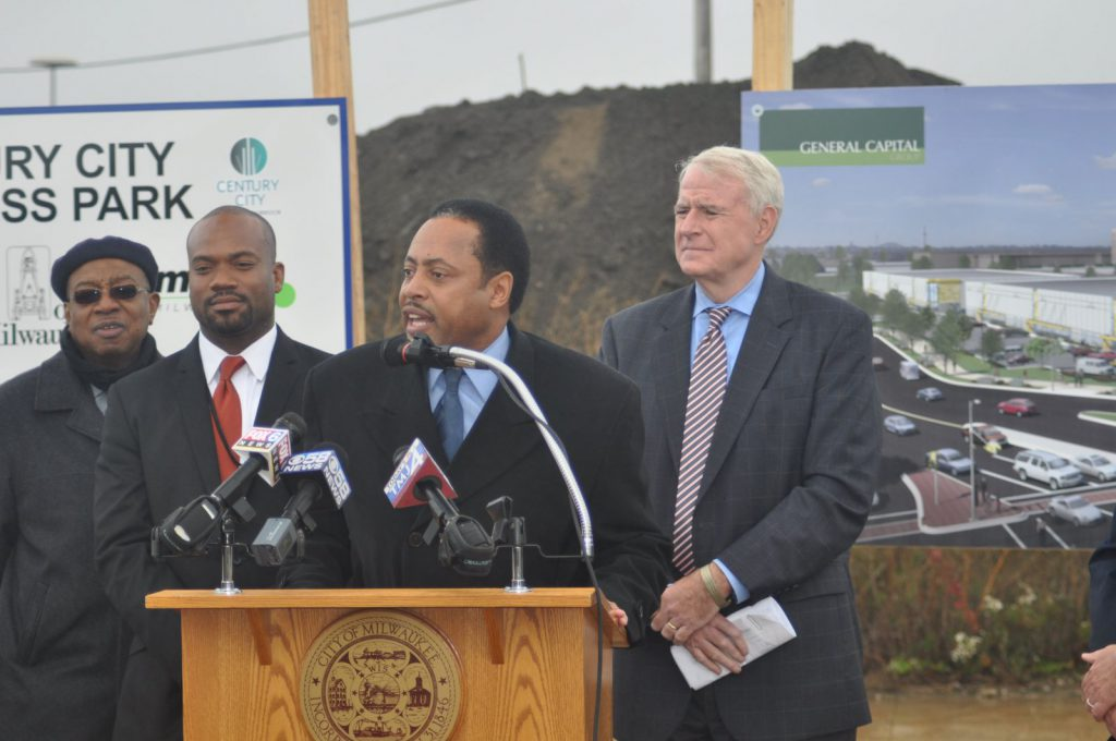 Ald. Willie Wade speaks at Century City groundbreaking. Photo taken October 14th, 2014 by Susan Nusser.