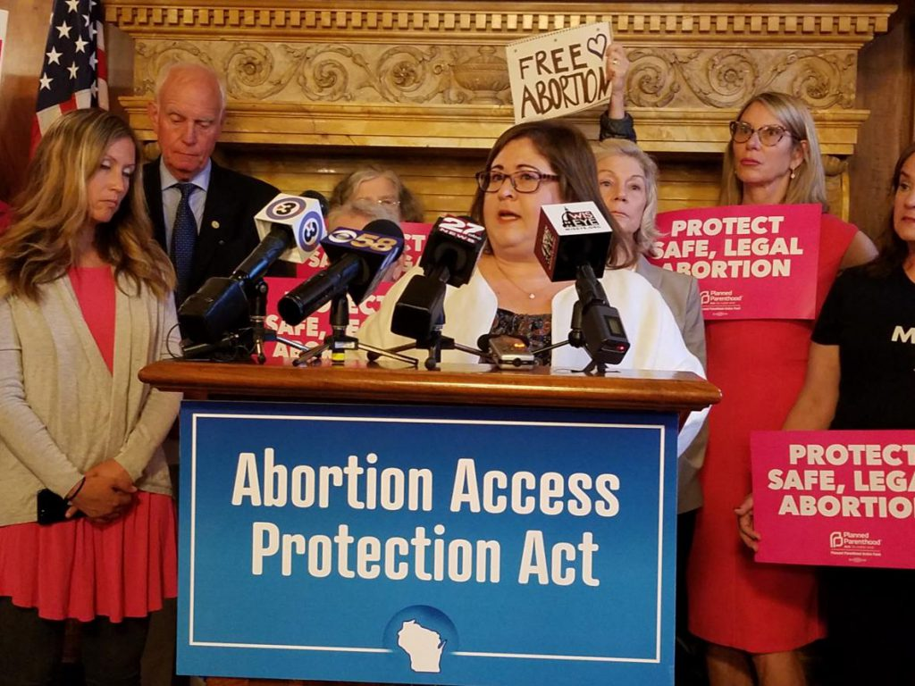 Rep. Lisa Subeck, D-Madison, and other abortion rights activists are calling for a repeal of Wisconsin's criminal abortion ban. Photo by Shawn Johnson / WPR.