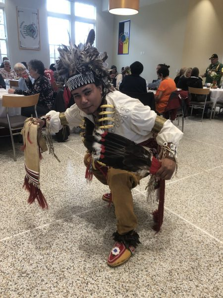 James Flores, a member of the Oneida Nation, dances at the celebration of the completion of the Wgema building renovation. Photo provided by Greenfire Management Services/NNS.