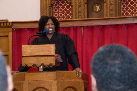 Keisha Krumm delivers a sermon at Community Baptist Church of Greater Milwaukee. She is associate pastor at Tabernacle Community Baptist Church. Photo courtesy of Keisha Krumm.