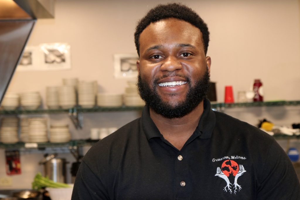 """He burnt up plenty of my stoves"" is how Sammy Smith's mother describes her son's culinary beginnings. Now 29, Smith runs Grassroots Wellness Milwaukee, a meal-prep business. Photo by Claire Hyman/NNS."