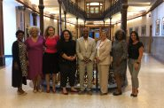Bria Grant, Julia Means, Commissioner Jeanette Kowalik, Caroline Gomez-Tom, LaNelle Ramey, Dr. Marylyn Ranta, Ericka Sinclair, Ruthie Weatherly at Milwaukee City Hall after the Board of Health confirmation hearings. Photo by Jeramey Jannene.