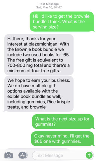 "Wisconsin Watch reporter Rachelle Wilson arranged the sale, via text message, of a ""book bundle"" from BlazeMichigan, a business that sprung up in Michigan after state voters legalized recreational marijuana in 2018. Sales are still banned, but enterprising entrepreneurs have devised ways to ""gift"" marijuana. In this case, edibles including a brownie, a marshmallow treat and gummies containing cannabis came free with the purchase of two used books for $65. Photo by Rachelle Wilson / Wisconsin Watch."