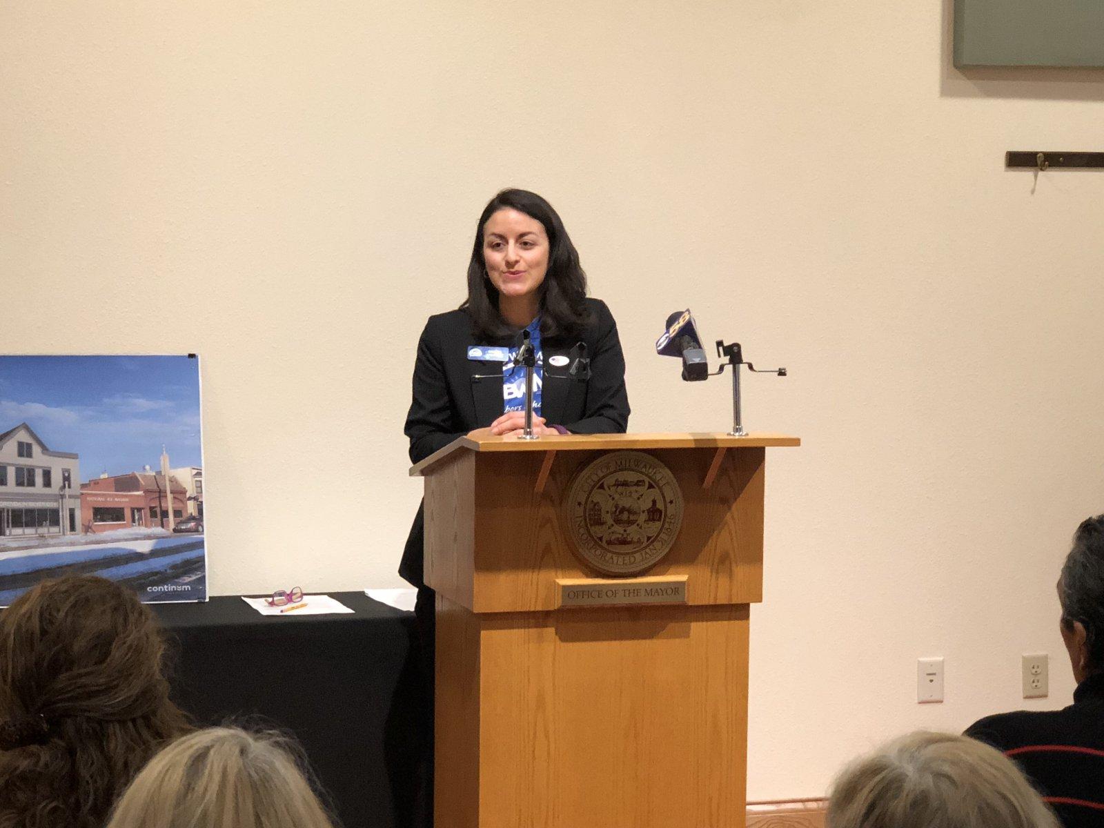 Brianna Sas-Pérez speaking at the groundbreaking of 3514 W. National Ave. Photo taken February 20th, 2018 by Jeramey Jannene.