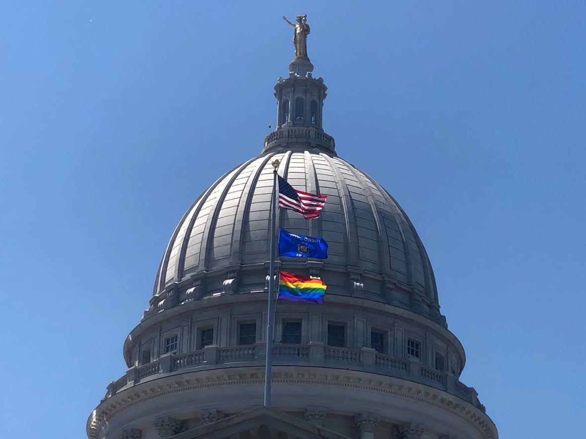 "Gov. Tony Evers issued an executive order to fly a rainbow flag over the state Capitol for the remainder of June 2019 in recognition of ""Pride Month."" Photo by Laurel White/WPR."