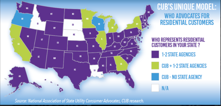A map provided by the Wisconsin Citizens Utility Board shows how consumer advocacy for utility customers varies throughout the country.