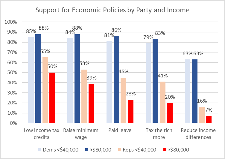 Support for Economic Policies by Party and Income