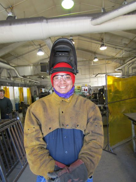 "Alberto Romero, a student in the welding program at the Blackwell Job Corps Center, said the site is like ""heaven"" to him. Photo by Rob Mentzer/WPR."