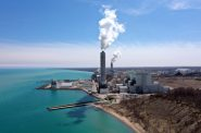 Environmentalists oppose a proposal by We Energies to change the way mercury is measured in water that it discharges to Lake Michigan from the Oak Creek Power Plant and Elm Road Generating Station, seen here on April 25, 2019. The plants, in Oak Creek, Wis., are coal-fired electrical power stations. Photo by Coburn Dukehart/Wisconsin Watch.