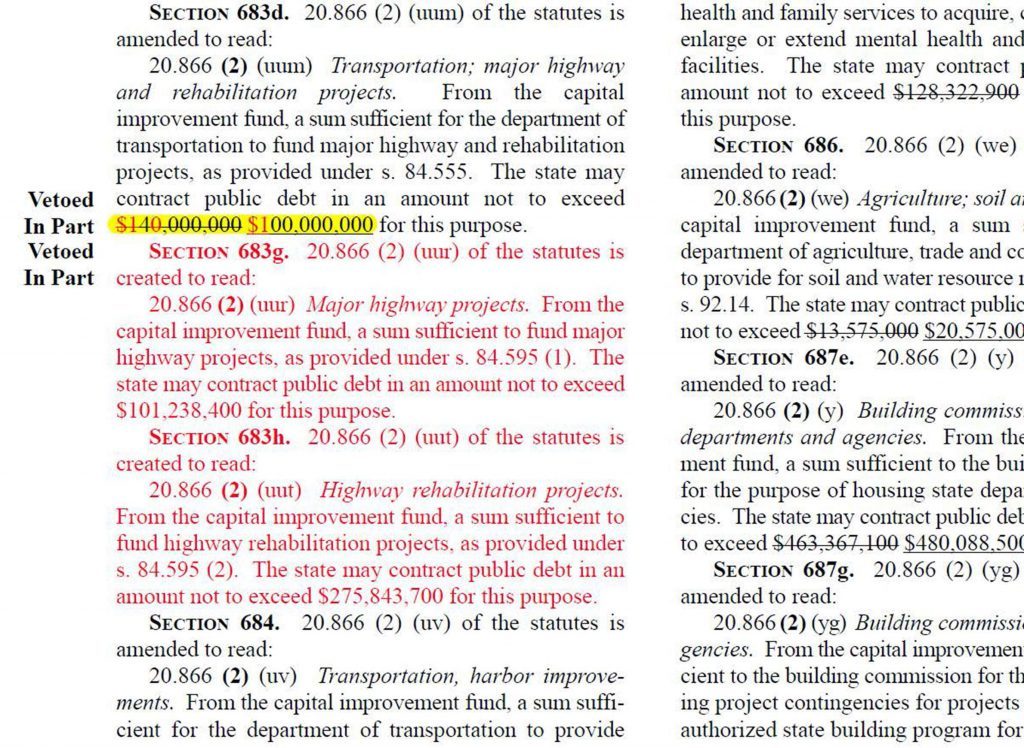 The highlighted text shows a part of the 2003-2004 state budget where Democrat Gov. Jim Doyle created a new appropriation of $1 billion for transportation funding by vetoing different portions of an original ($140 million) and amended ($100 million) appropriation made by the state Legislature. Image from the Wisconsin State Legislature.