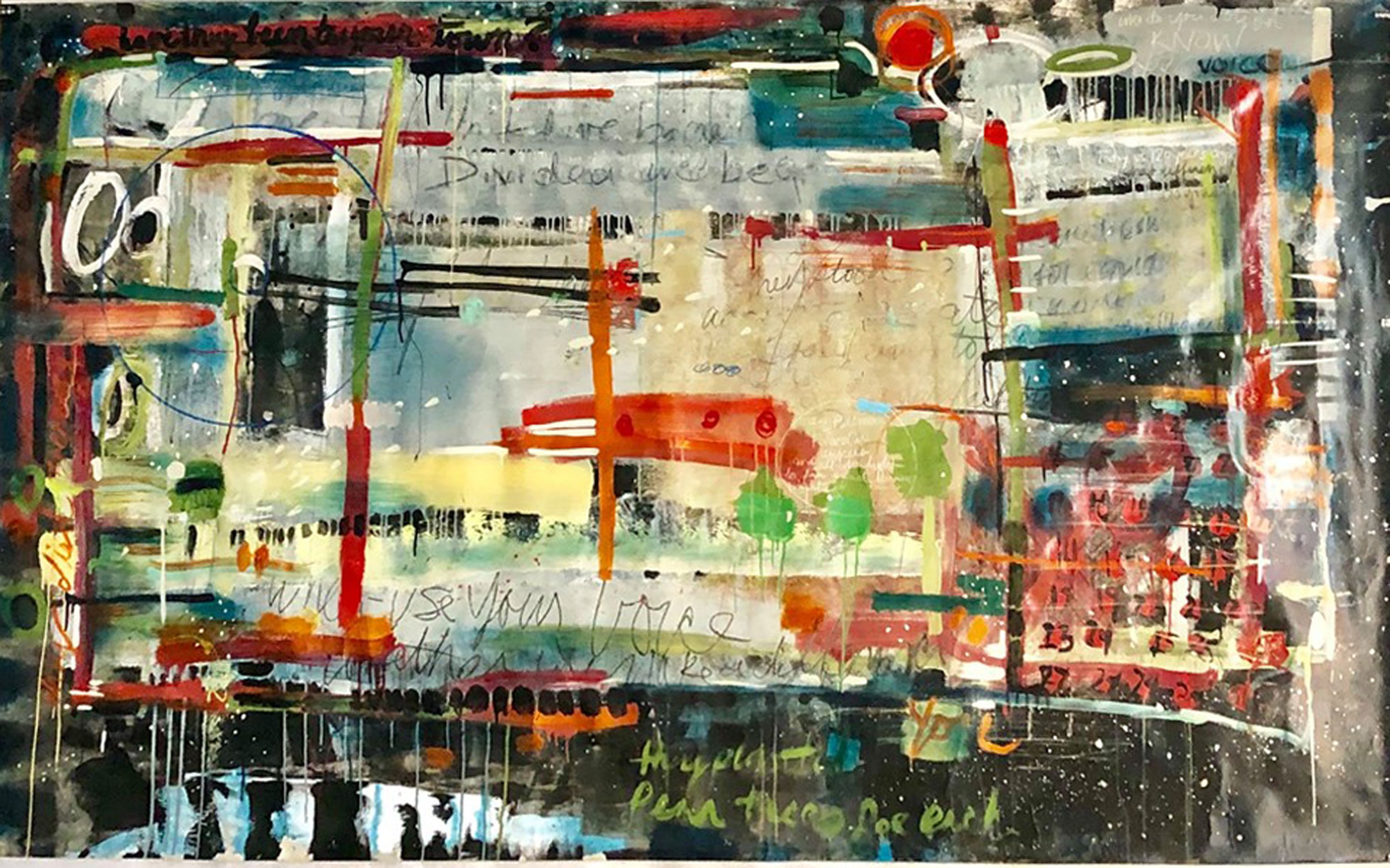 Factory Site Fence 5'x8' acrylic mixed media by Erica Jane Huntzinger.