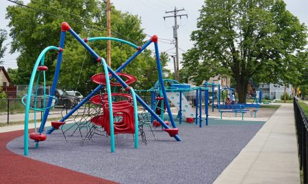 The playground in Phillips Park on North 17th Street was the second to be renovated by MKE Plays. It was completed in 2016. Photo by Andrea Waxman/NNS.