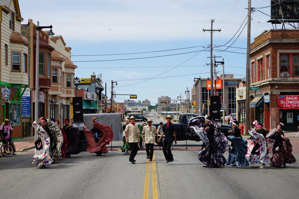 Folk dancers on Cesar Chavez E. Drive at Ciclovia MKE in 2016. Photo by Adam Carr/NNS.