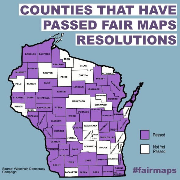 County Boards in 47 of the state's 72 counties have passed resolutions calling for an end to partisan map-drawing.