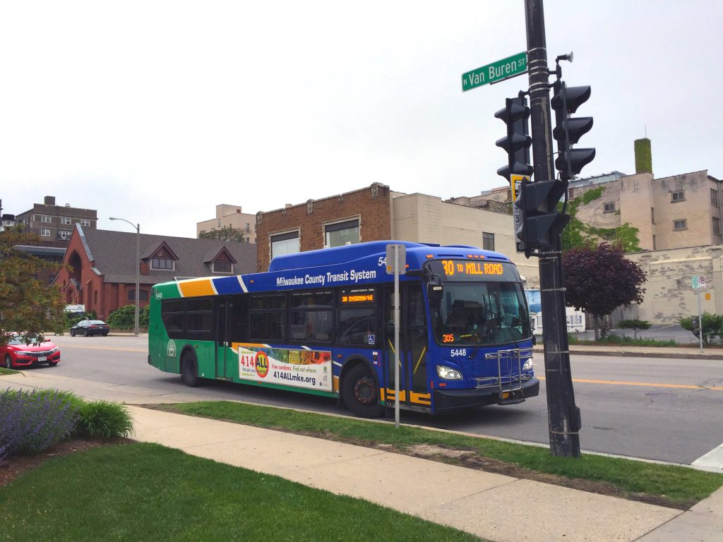 Milwaukee County Transti System bus. photo by Dave Reid.