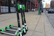 Lime scooters on Broadway in the Historic Third Ward. Photo by Dave Reid.