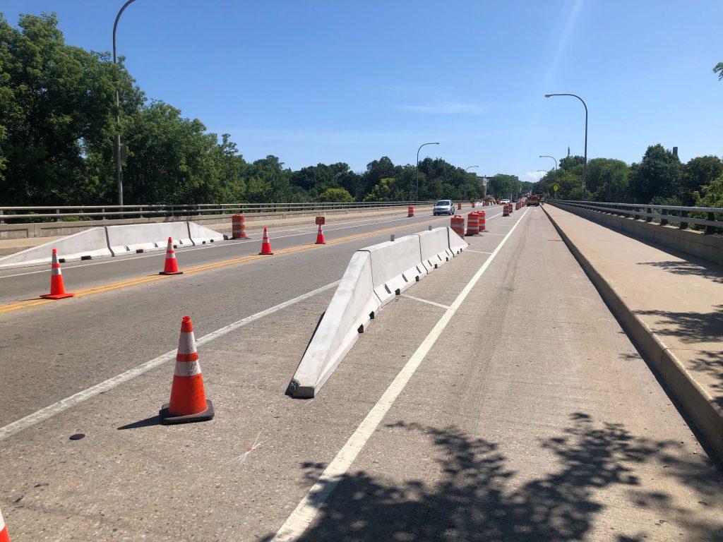 """New """"jersey barriers"""" on Locust Street bridge. Photo by Jeramey Jannene."""