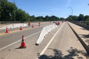"New ""jersey barriers"" on Locust Street bridge. Photo by Jeramey Jannene."