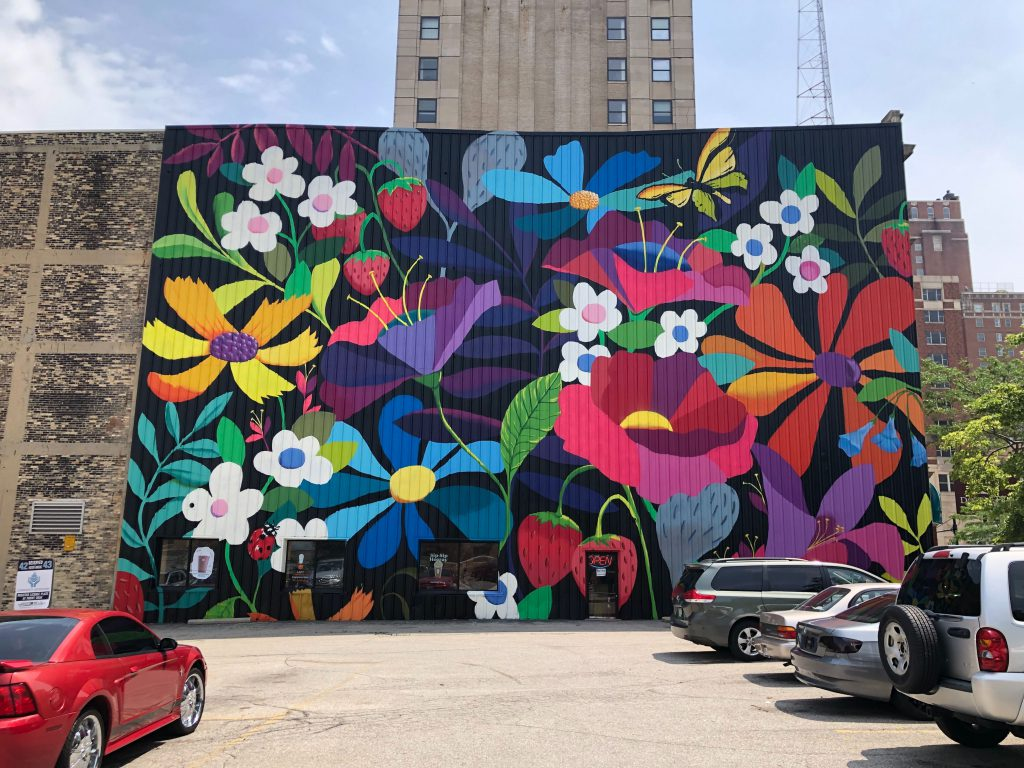 Gateway mural by Emma Daisey Gertel. Photo by Jeramey Jannene.