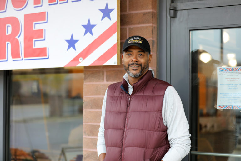 Racial equity is a top reason Milwaukee resident Marlon Rockett supports marijuana legalization. Milwaukee County's non-binding marijuana legalization referendum motivated Rockett to cast an early ballot in the 2018 midterms. In 2018, blacks were four times as likely to be arrested for marijuana possession in Wisconsin as whites, statistics show. Rockett is seen outside of an early voting location at Midtown Shopping Center in Milwaukee on Oct. 28, 2018. Photo by Emily Hamer/Wisconsin Watch.