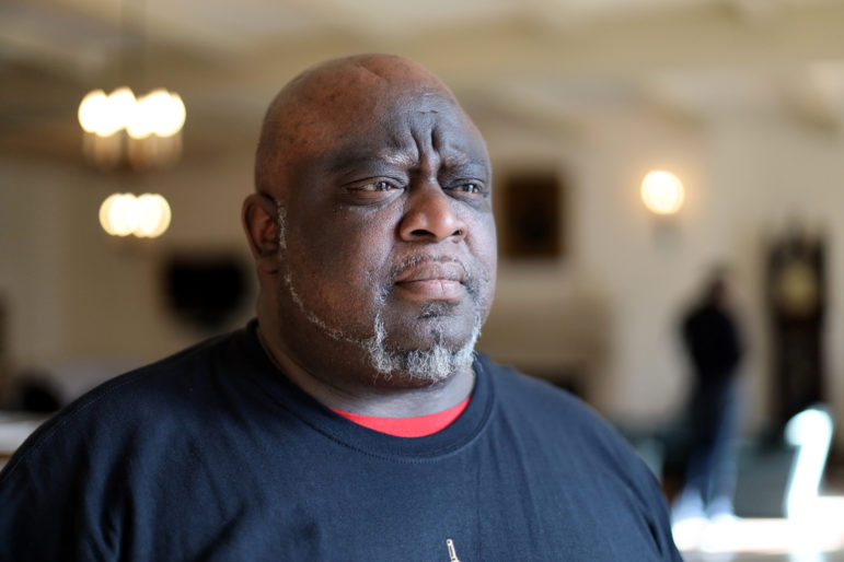 Former prisoner Sylvester Jackson says he has eight years remaining on community supervision. He fears returning to prison even if he commits no new crime. Forty percent of Wisconsin prison admissions are offenders who have not committed new crimes but who are accused of violating rules of supervision. Jackson is seen during the Madison Action Day for Wisdom, the statewide faith-based organization, on March 26, 2019, in Madison, Wis. Photo by Emily Hamer / Wisconsin Watch.